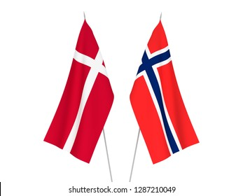 National fabric flags of Norway and Denmark isolated on white background. 3d rendering illustration.