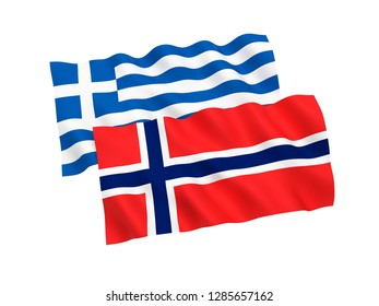 National fabric flags of Norway and Greece isolated on white background. 3d rendering illustration.