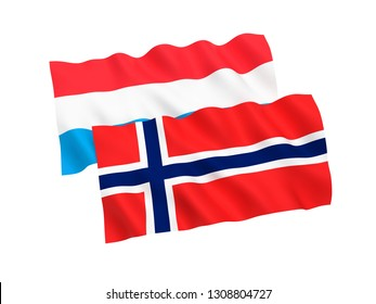 National fabric flags of Norway and Luxembourg isolated on white background. 3d rendering illustration. 1 to 2 proportion.