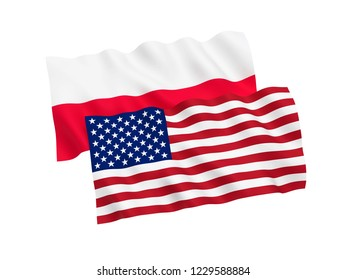 National fabric flags of Poland and America isolated on white background. 3d rendering illustration.