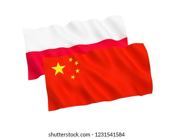 National fabric flags of Poland and China isolated on white background. 3d rendering illustration.