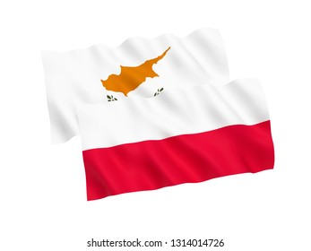 National fabric flags of Poland and Cyprus isolated on white background. 3d rendering illustration. 1 to 2 proportion.