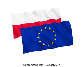 National fabric flags of Poland and European Union isolated on white background. 3d rendering illustration.