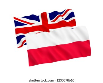 National fabric flags of Poland and Great Britain isolated on white background. 3d rendering illustration.