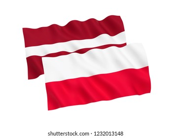 National fabric flags of Poland and Latvia isolated on white background. 3d rendering illustration.