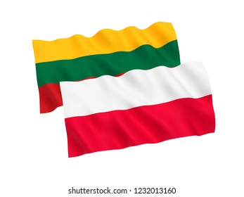 National fabric flags of Poland and Lithuania isolated on white background. 3d rendering illustration.