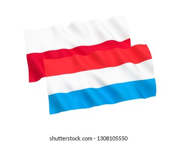 National fabric flags of Poland and Luxembourg isolated on white background. 3d rendering illustration. 1 to 2 proportion.