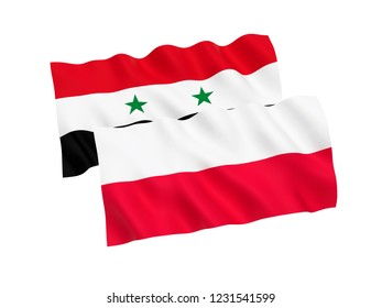 National fabric flags of Poland and Syria isolated on white background. 3d rendering illustration.