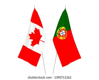 National fabric flags of Portugal and Canada isolated on white background. 3d rendering illustration.