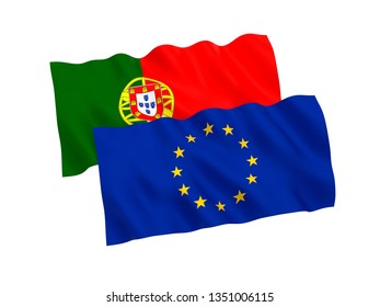 National fabric flags of Portugal and European Union isolated on white background. 3d rendering illustration. 1 to 2 proportion.