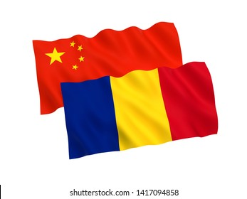National fabric flags of Romania and China isolated on white background. 3d rendering illustration. Proportion 1:2