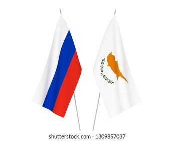 National fabric flags of Russia and Cyprus isolated on white background. 3d rendering illustration.