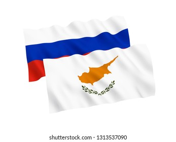 National fabric flags of Russia and Cyprus isolated on white background. 3d rendering illustration. 1 to 2 proportion.