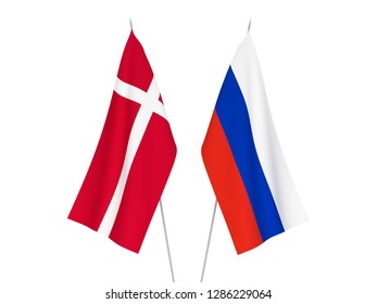 National fabric flags of Russia and Denmark isolated on white background. 3d rendering illustration.