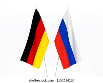 National fabric flags of Russia and Germany isolated on white background. 3d rendering illustration.