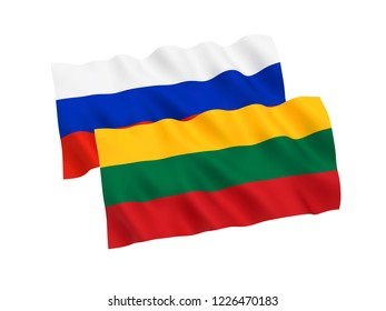 National fabric flags of Russia and Lithuania isolated on white background. 3d rendering illustration.