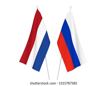National fabric flags of Russia and Netherlands isolated on white background. 3d rendering illustration.