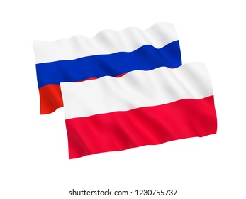 National fabric flags of Russia and Poland isolated on white background. 3d rendering illustration.