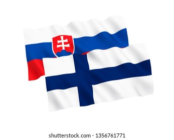 National fabric flags of Slovakia and Finland isolated on white background. 3d rendering illustration. Proportion 1:2