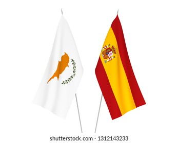 National fabric flags of Spain and Cyprus isolated on white background. 3d rendering illustration.