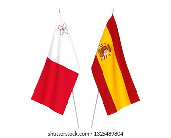 National fabric flags of Spain and Malta isolated on white background. 3d rendering illustration.