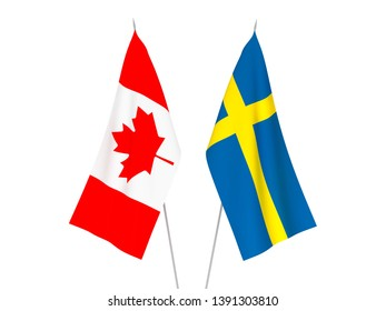 National fabric flags of Sweden and Canada isolated on white background. 3d rendering illustration.