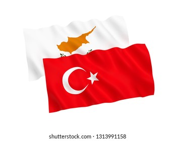 National fabric flags of Turkey and Cyprus isolated on white background. 3d rendering illustration. 1 to 2 proportion.
