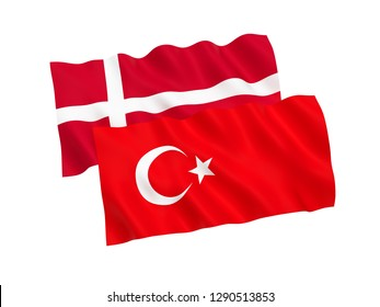 National fabric flags of Turkey and Denmark isolated on white background. 3d rendering illustration.