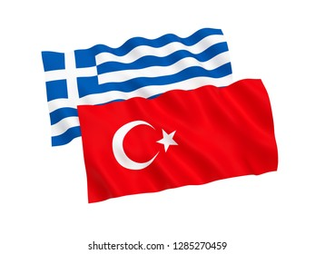 National fabric flags of Turkey and Greece isolated on white background. 3d rendering illustration.