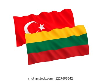 National fabric flags of Turkey and Lithuania isolated on white background. 3d rendering illustration.