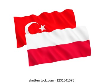 National fabric flags of Turkey and Poland isolated on white background. 3d rendering illustration.