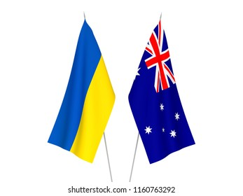 National fabric flags of Ukraine and Australia isolated on white background. 3d rendering illustration.