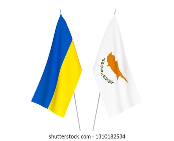 National fabric flags of Ukraine and Cyprus isolated on white background. 3d rendering illustration.