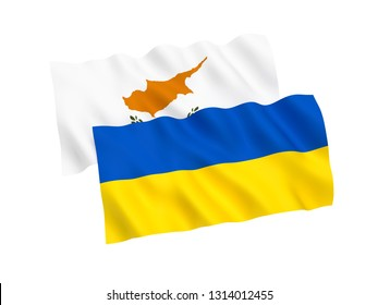 National fabric flags of Ukraine and Cyprus isolated on white background. 3d rendering illustration. 1 to 2 proportion.