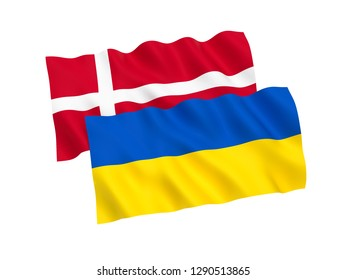 National fabric flags of Ukraine and Denmark isolated on white background. 3d rendering illustration.