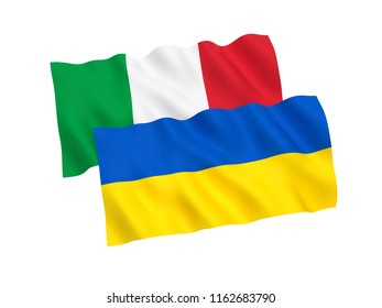 National fabric flags of Ukraine and Italy isolated on white background. 3d rendering illustration.