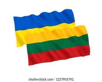 National fabric flags of Ukraine and Lithuania isolated on white background. 3d rendering illustration.
