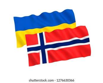 National fabric flags of Ukraine and Norway isolated on white background. 3d rendering illustration.