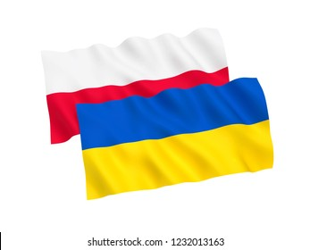 National fabric flags of Ukraine and Poland isolated on white background. 3d rendering illustration.