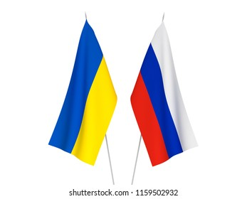 National fabric flags of Ukraine and Russia isolated on white background. 3d rendering illustration.