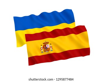 National fabric flags of Ukraine and Spain isolated on white background. 3d rendering illustration.