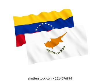 National fabric flags of Venezuela and Cyprus isolated on white background. 3d rendering illustration. 1 to 2 proportion.