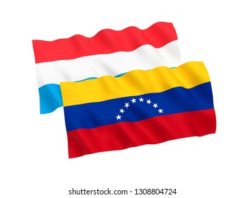 National fabric flags of Venezuela and Luxembourg isolated on white background. 3d rendering illustration. 1 to 2 proportion.