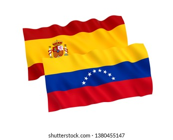 National fabric flags of Venezuela and Spain isolated on white background. 3d rendering illustration. 1 to 2 proportion.