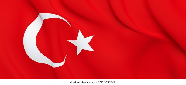 National Fabric Wave Close Up Flag of Turkey Waving in the Wind. 3d rendering illustration.