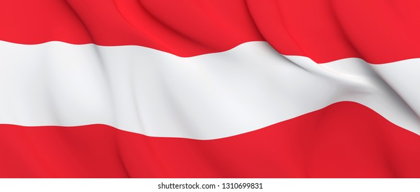 National Fabric Wave Close Up Flag of Austria Waving in the Wind. 3d rendering illustration.