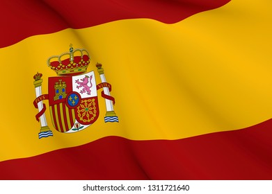 National Fabric Wave Close Up Flag of Spain Waving in the Wind. 3d rendering illustration.