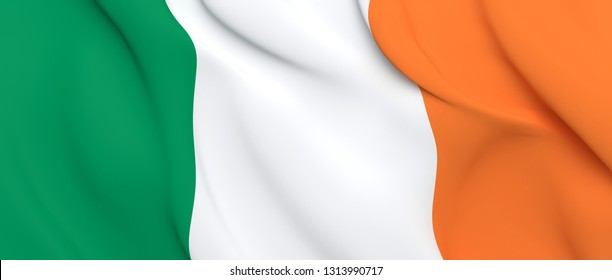 National Fabric Wave Close Up Flag of Ireland Waving in the Wind. 3d rendering illustration.