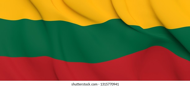 National Fabric Wave Close Up Flag of Lithuania Waving in the Wind. 3d rendering illustration.