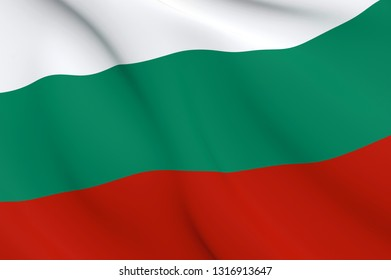 National Fabric Wave Close Up Flag of Bulgaria Waving in the Wind. 3d rendering illustration.